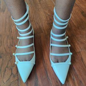 Zara Trafaluc Blush Strappy Pointed Flats